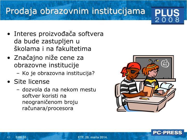 Prodaja obrazovnim institucijama