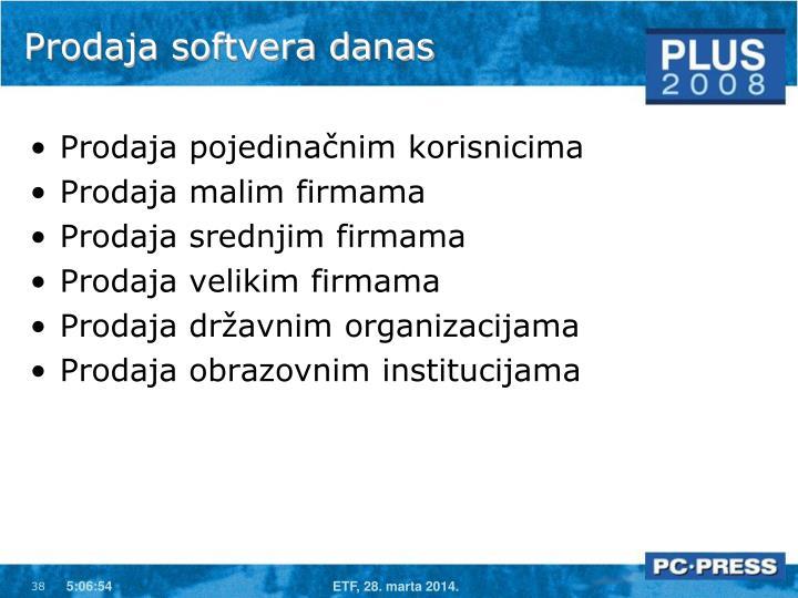 Prodaja softvera danas