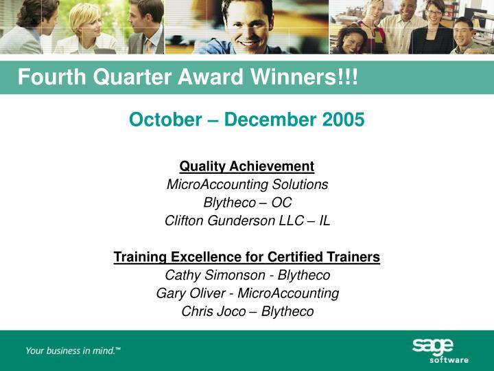 Fourth Quarter Award Winners!!!