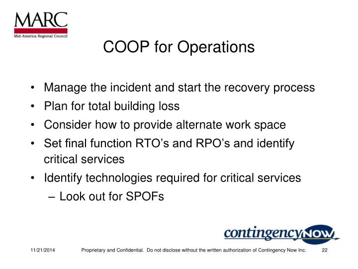 COOP for Operations