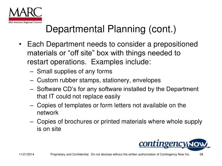 Departmental Planning (cont.)