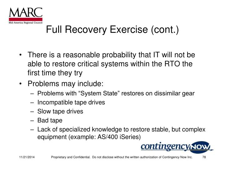 Full Recovery Exercise (cont.)