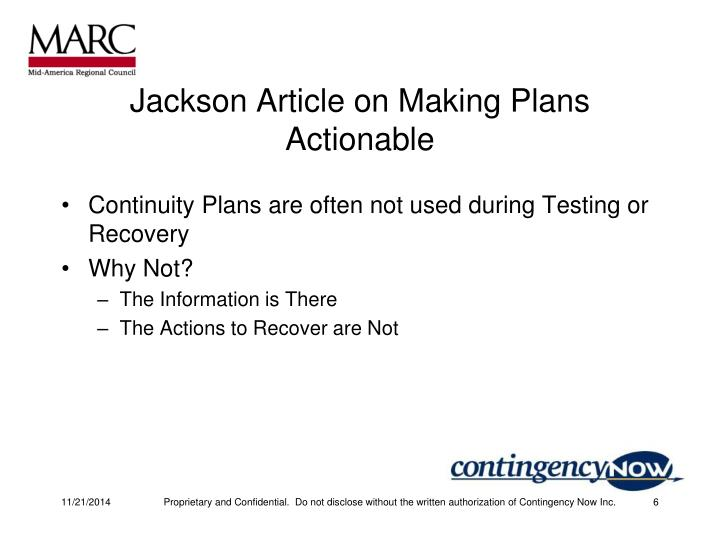 Jackson Article on Making Plans Actionable