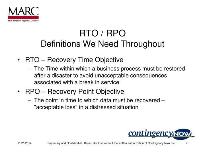 RTO / RPO