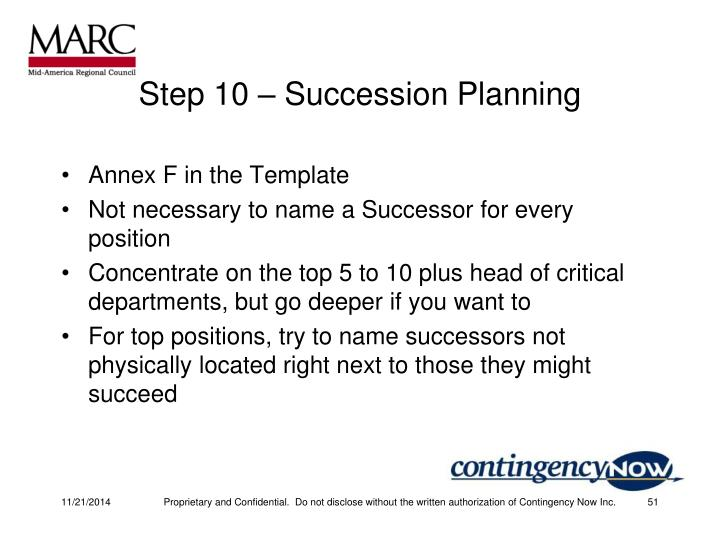 Step 10 – Succession Planning