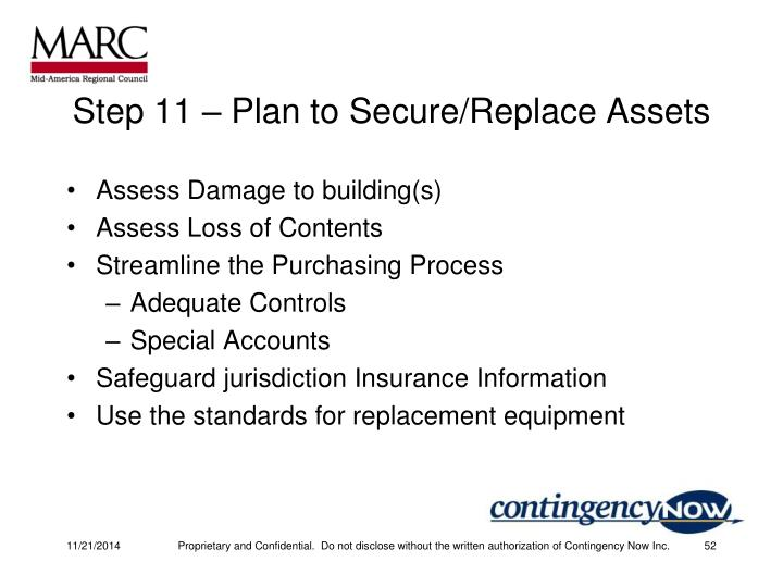 Step 11 – Plan to Secure/Replace Assets