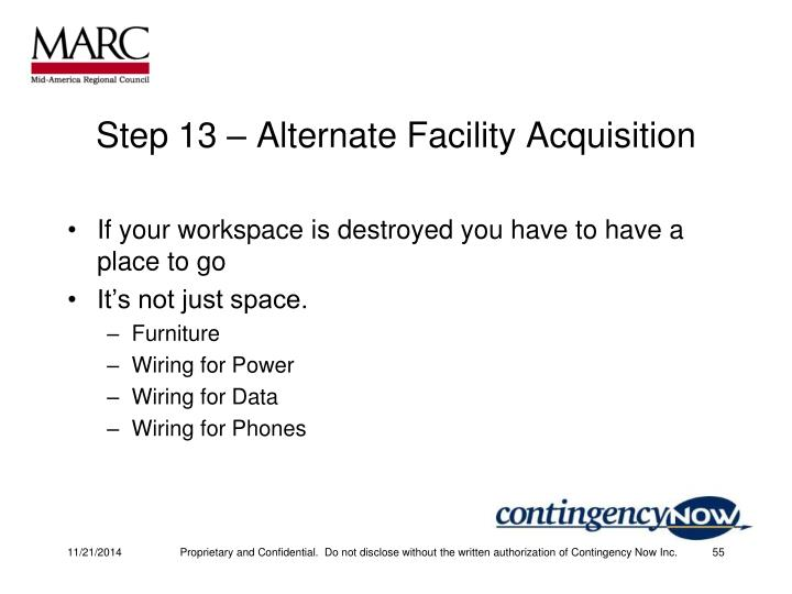 Step 13 – Alternate Facility Acquisition