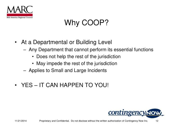 Why COOP?