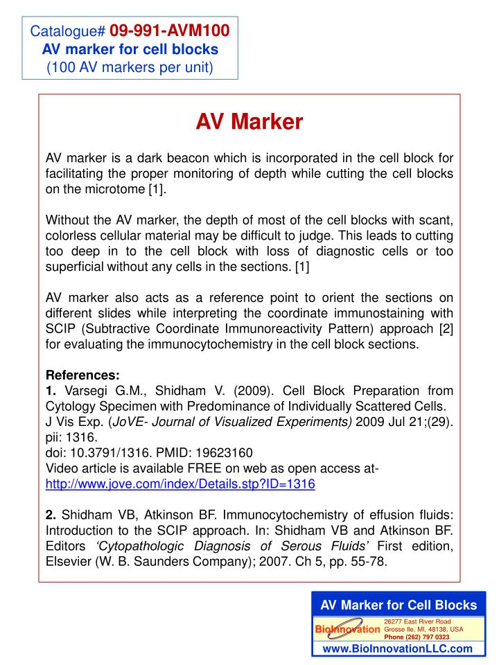 AV Marker for Cell Blocks