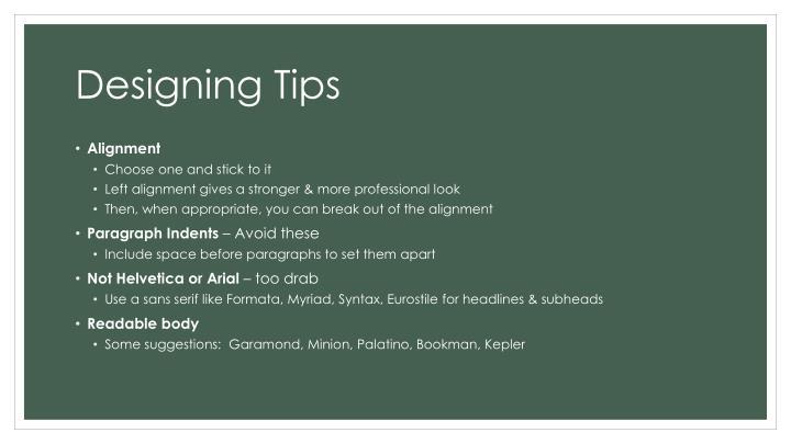 Designing Tips