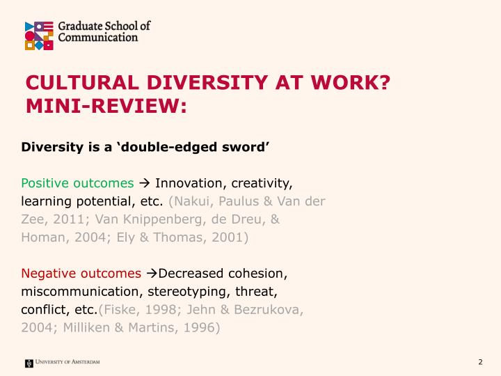 Cultural diversity at work mini review