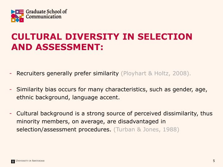 Cultural Diversity in Selection and assessment:
