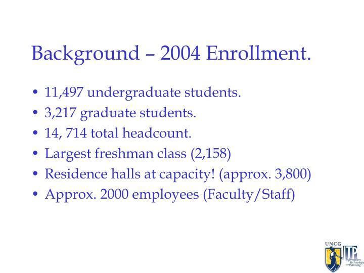 Background – 2004 Enrollment.