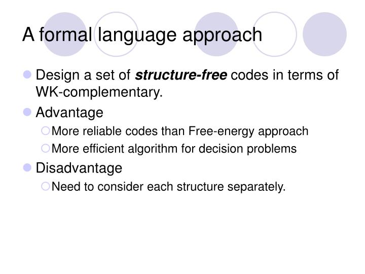 A formal language approach