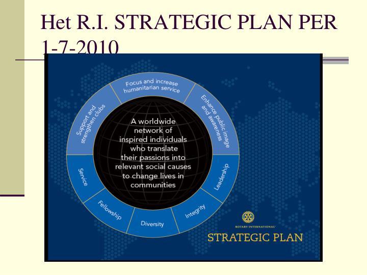 Het R.I. STRATEGIC PLAN PER 1-7-2010