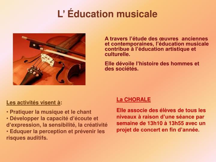 L' Éducation musicale