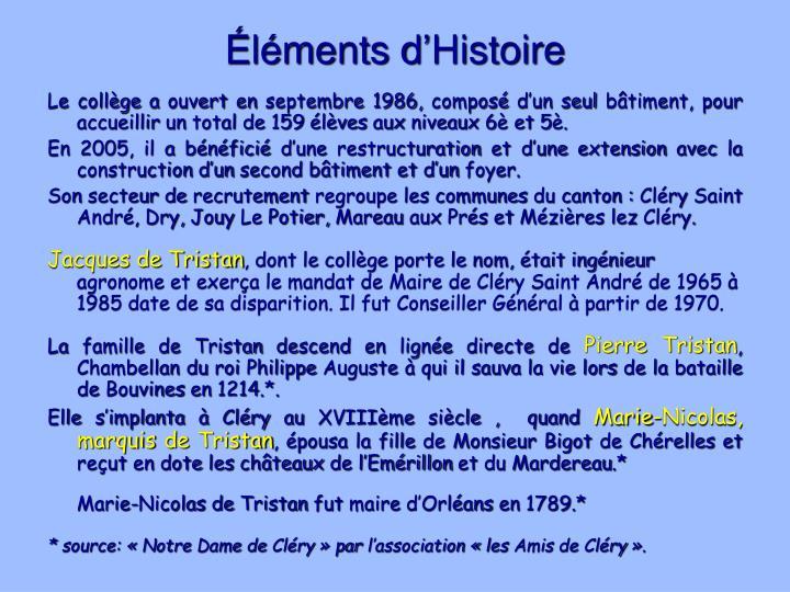 Éléments d'Histoire