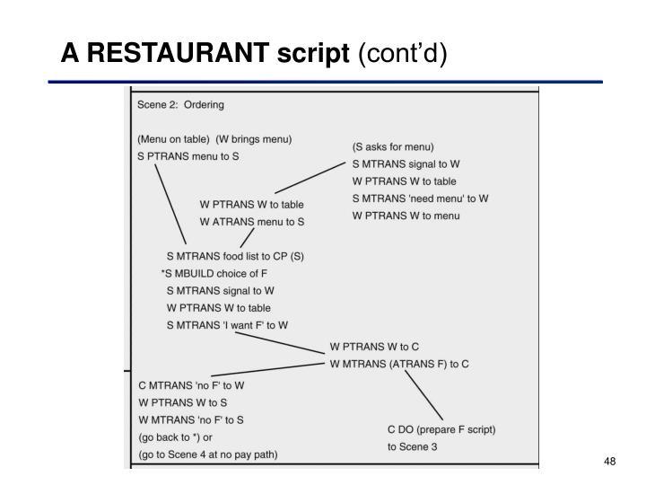 A RESTAURANT script