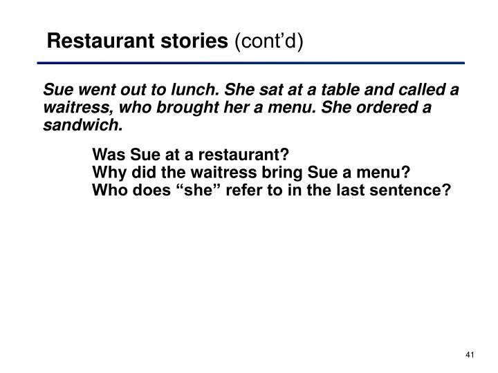 Restaurant stories