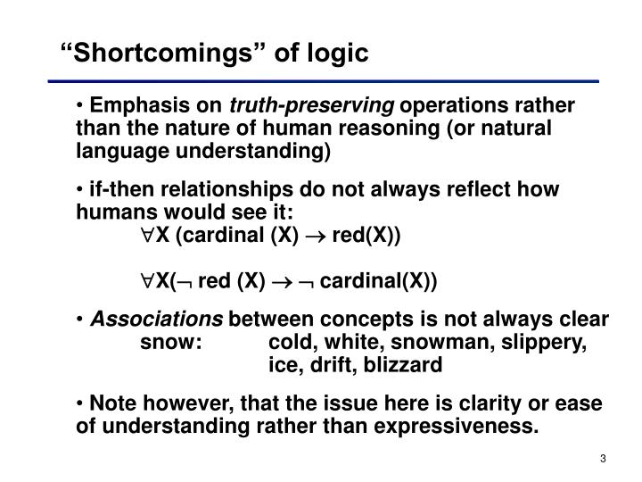 Shortcomings of logic
