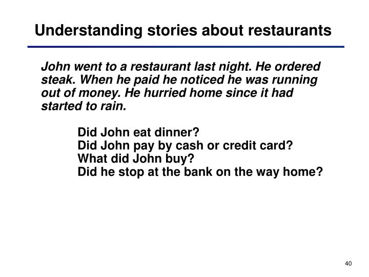 Understanding stories about restaurants