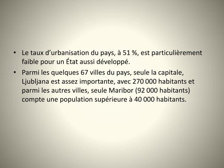 Le taux durbanisation du pays,  51%, est particulirement faible pour un tat aussi dvelopp.