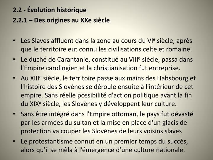 2.2 - volution historique
