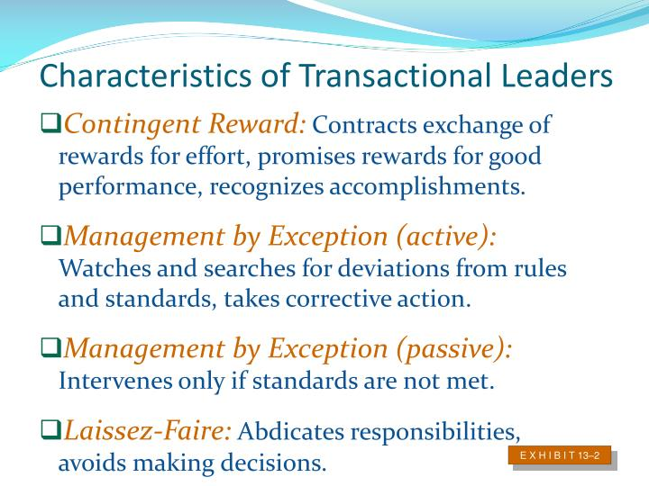 Characteristics of Transactional Leaders