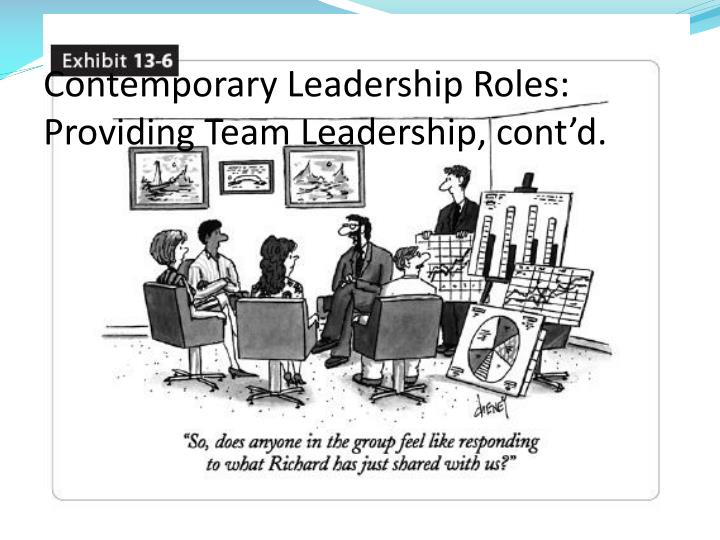 Contemporary Leadership Roles: Providing Team Leadership, cont'd.