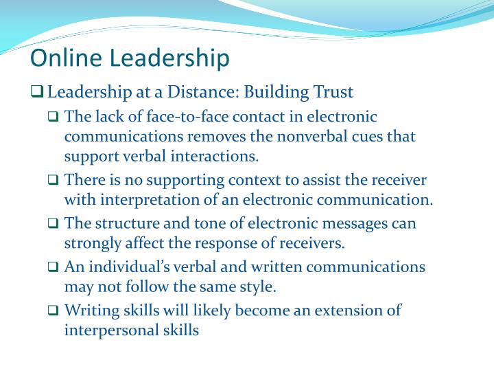 Leadership at a Distance: Building Trust