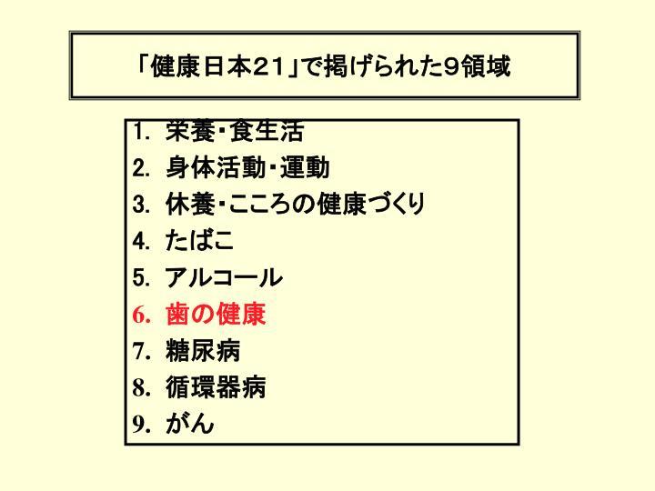 「健康日本21」で掲げられた9領域