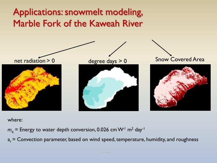 Applications: snowmelt modeling,