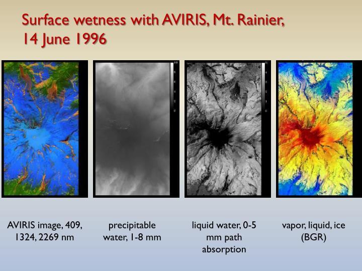 Surface wetness with AVIRIS, Mt. Rainier,
