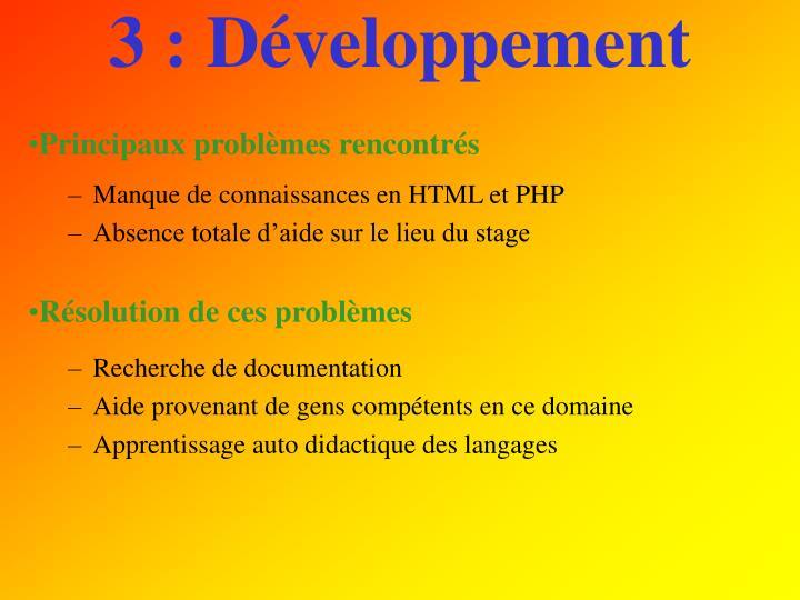 3 : Développement