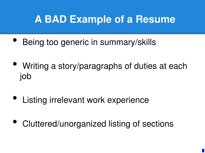 A BAD Example of a Resume