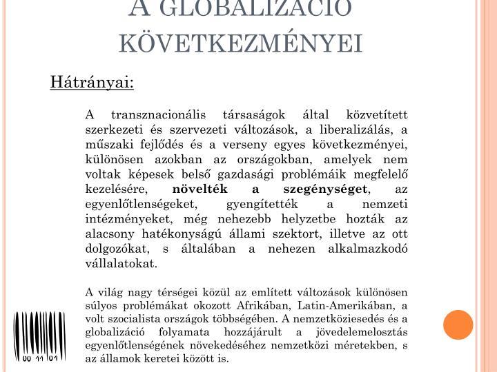 A globalizáció következményei