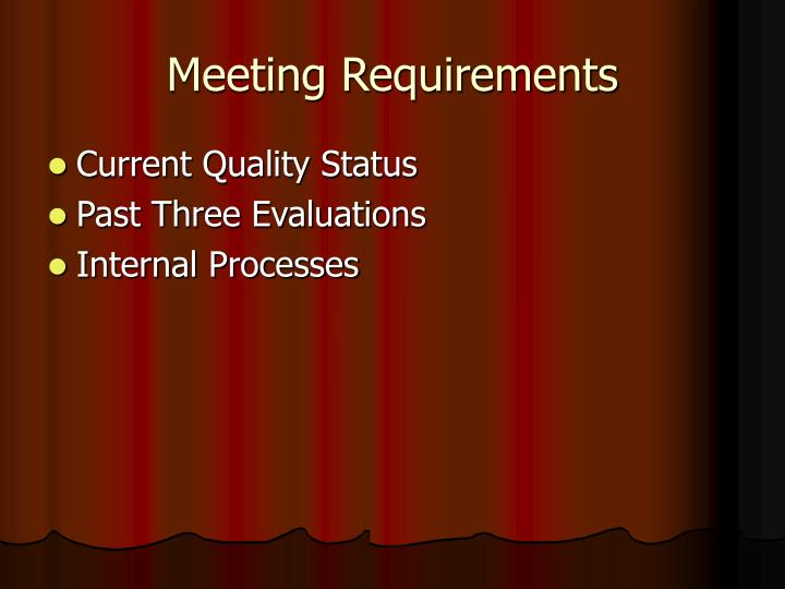 Meeting Requirements