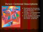 person centered descriptions