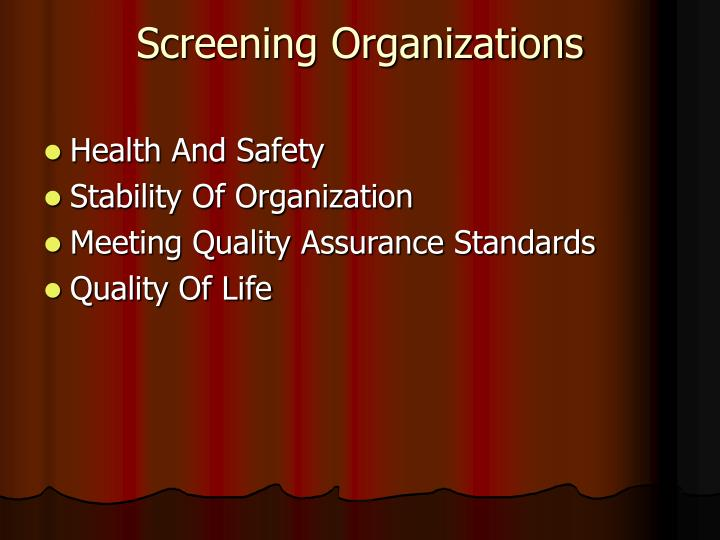 Screening Organizations