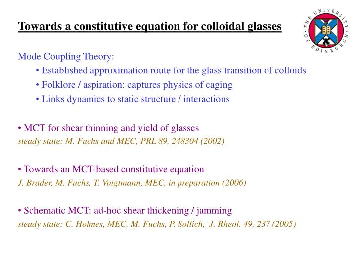 Towards a constitutive equation for colloidal glasses