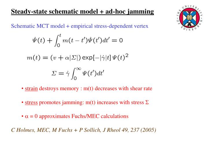 Steady-state schematic model + ad-hoc jamming