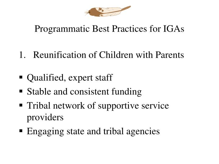 Programmatic Best Practices for IGAs