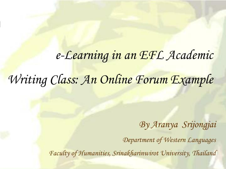 e-Learning in an EFL Academic