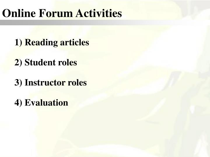 Online Forum Activities