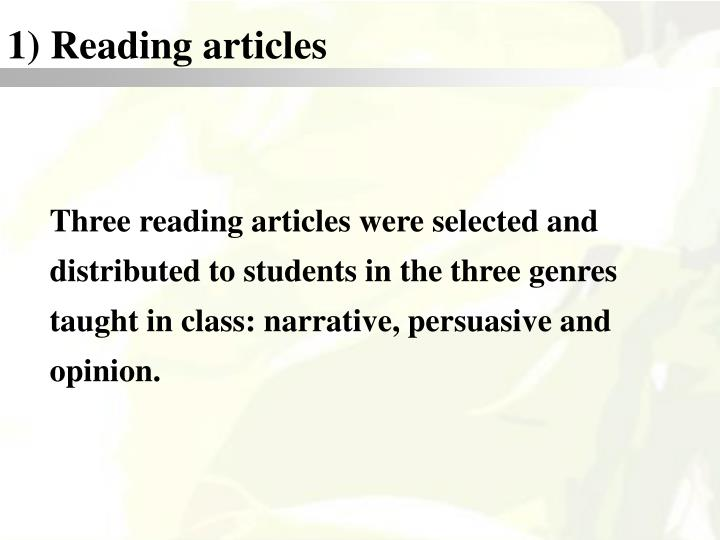 1) Reading articles