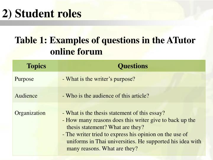 2) Student roles