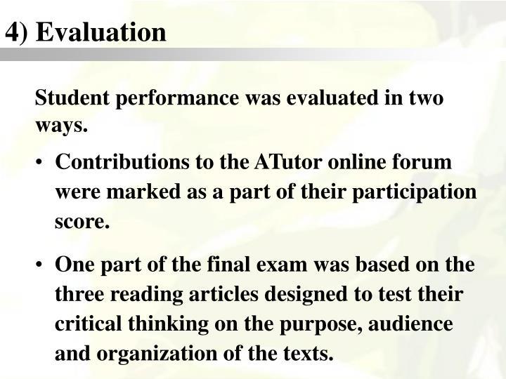 4) Evaluation