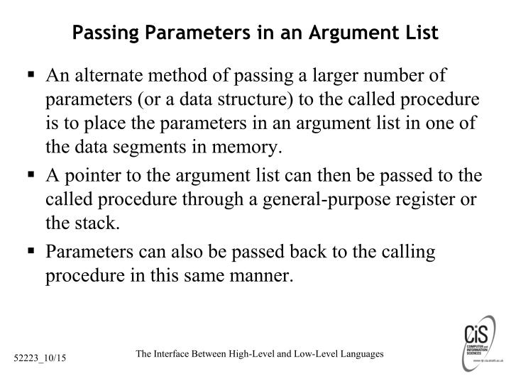 Passing Parameters in an Argument List