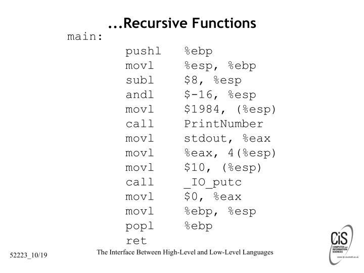 ...Recursive Functions