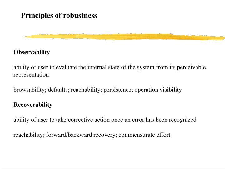 Principles of robustness